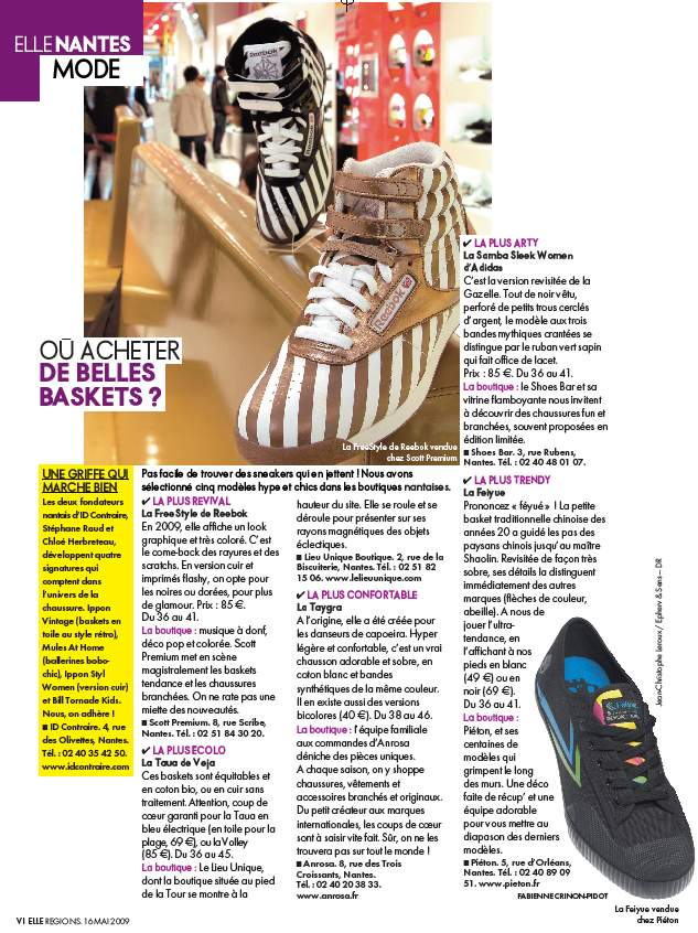 elle magazine article sur TAYGRA la basket la plus confortable